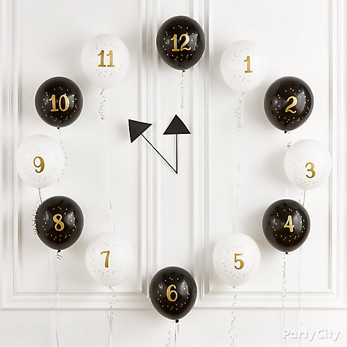 Happy New Year's Eve Countdown Balloons Clock