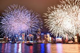 Hong Kong New Year Fireworks At Victoria Harbour