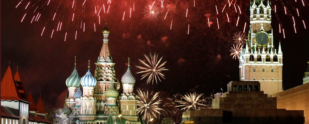 Red Square Moscow New Year Fireworks