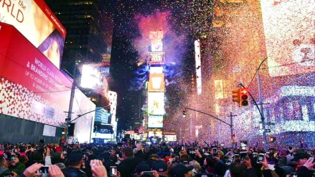 Times Square NYC Happy New Year Fireworks