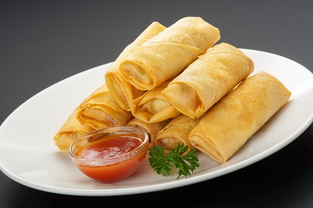 Chinese New Year Food Spring Rolls